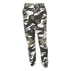 Pantalon à Imprimé Camouflage,OverDose Femme Jogging Casual Sports Taille haute Trousers Jeans (EU:40=L, Gris)