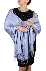 Pashmina pour femmes – Finition en cordelières – Cintre offert (+ de 20 couleurs) Produit artisanal (Lavande)