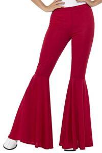 Smiffys Pantalons pattes d'éléphant, rouge, femme