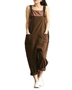 StyleDome Femme Coton Casual Large Lace Ample Harem Pantalon Combinaison Salopette Jumpsuit, Cafe, XL