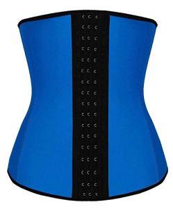 TwinsFlame Femme Bustier Latex Corset Amincissant Serre Taille Minceur pour Ventre Plat, Bleu, 3XL
