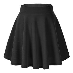 Urban GoCo Femmes Rétro Jupe Basique Plissée Patineuse Fille Elastique Court Midi Jupe (XS, Noir)