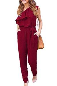 Vepodrau Les Femmes Élégantes Combinaisons Barboteuses Pantalon Long Col Oblique Manches Winered L