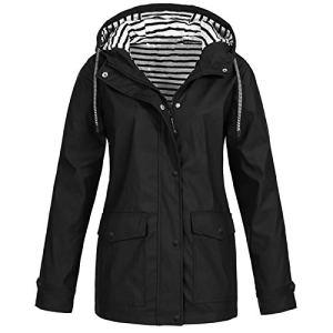 Veste de Pluie Femme à Capuche Grande Taille Manche Longue Imperméable Manteau Noir Coupe-Vent Casual Léger Blouson avec Poches pour Voyageant Camping Randonnée
