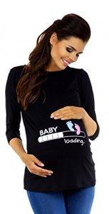 Zeta Ville Maternité – Tee Shirt de Grossesse Motif Humour imprimé – Femme 549c (Noir, 42-44, XL)