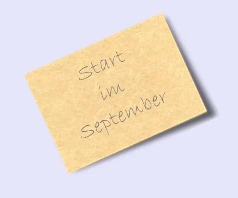 Start im September