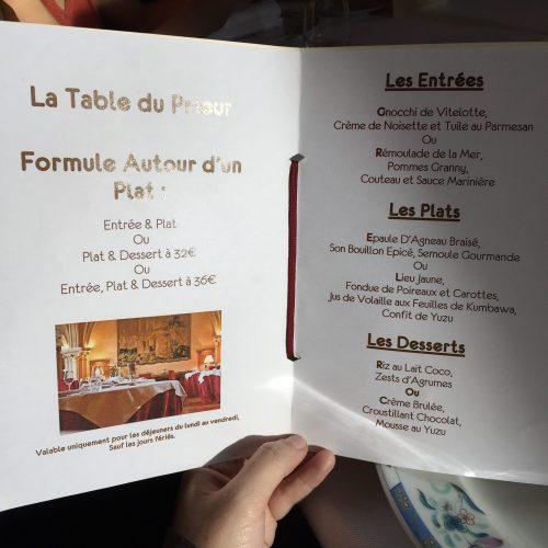 Abbaye des Vaux de Cernay menu restaurant Yvelines