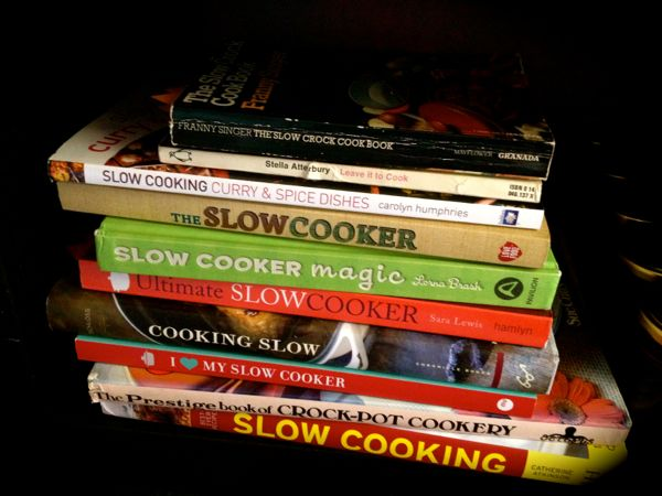 Slow cooker cook book pile