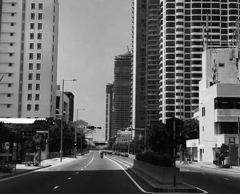 An empty Galle Road, Colombo, during lockdown