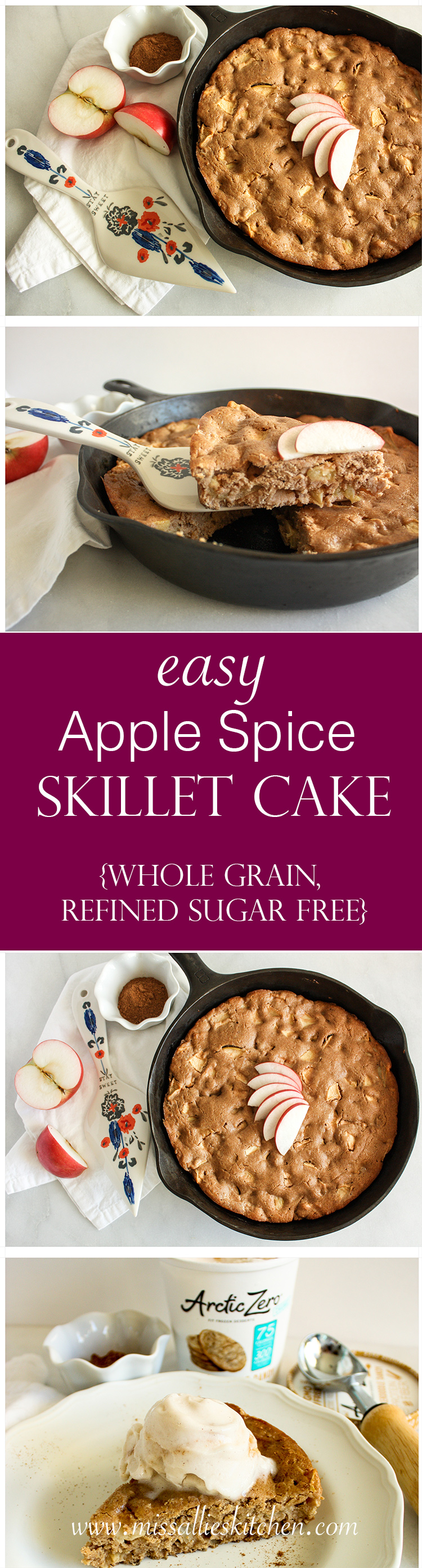 Apple Spice Skillet Cake - an easy, whole grain & comforting dessert made conveniently in your favorite skillet