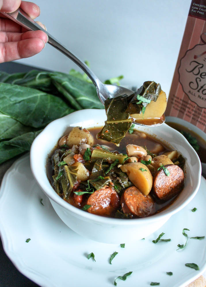 Collard Green and Spicy Chorizo Soup
