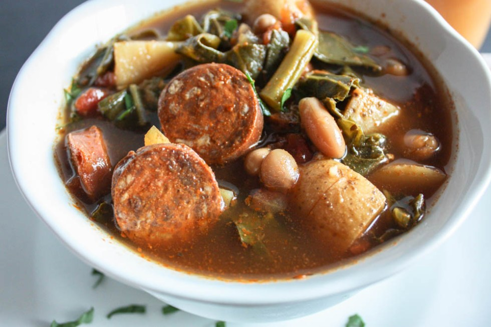 Chorizo Slow Cooker Soup with Collard Greens