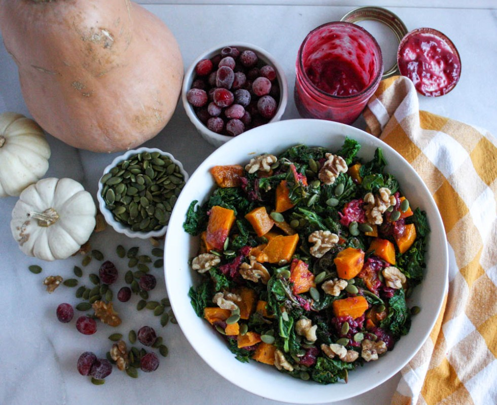 Loaded Kale Salad with Butternut Squash and Cranberry Dressing