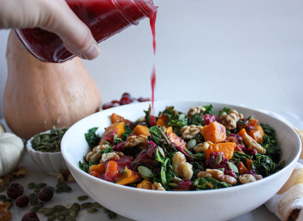 Easy Cranberry Dressing on a Harvest Salad