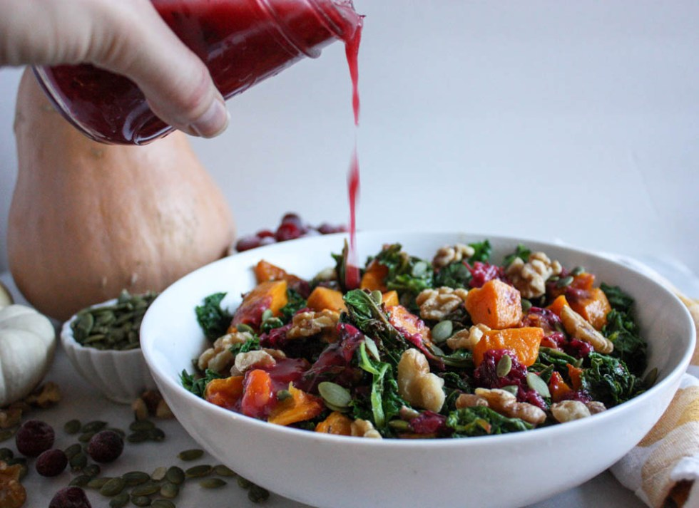 Easy Cranberry Dressing on a Harvest Salad