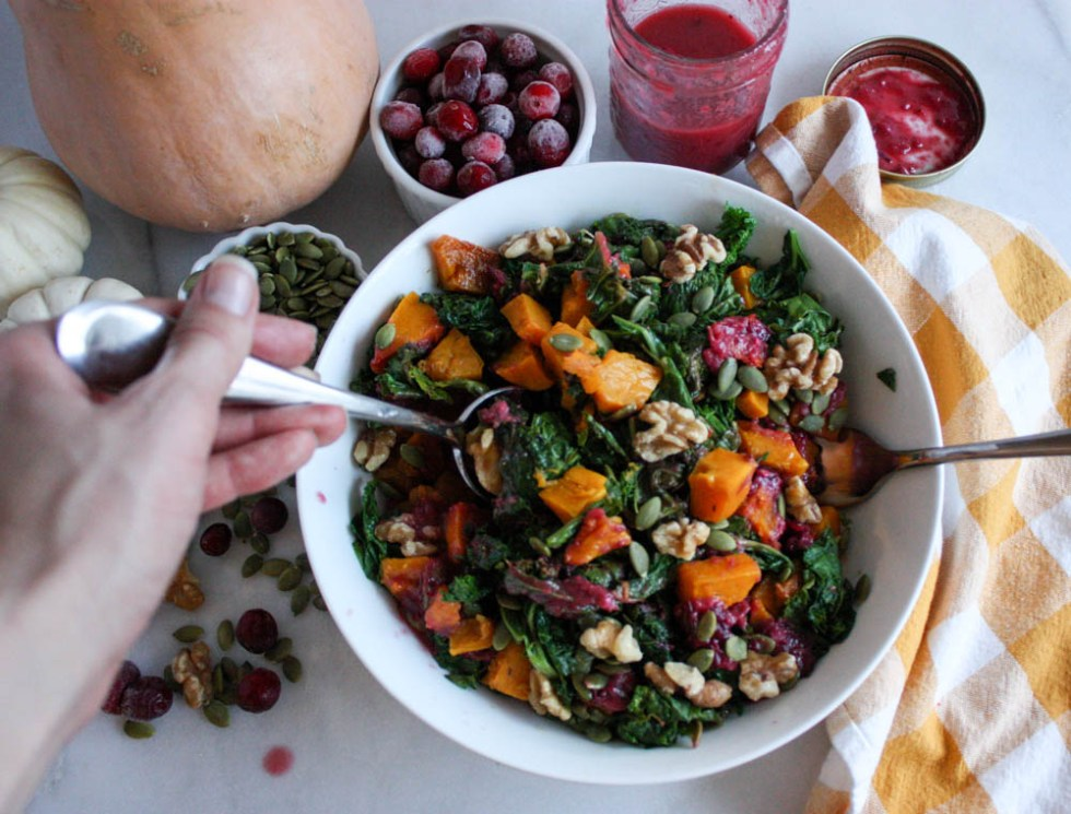 Serving Kale and Butternut Squash Salad this Friendsgiving