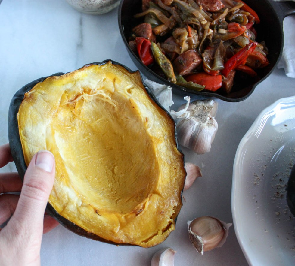Acorn Squash stuffed with Sausage and Peppers