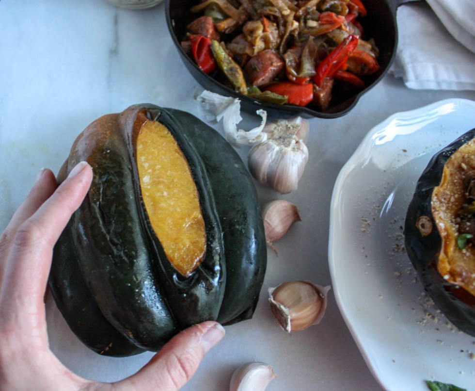Acorn Squash With Sausage and Peppers