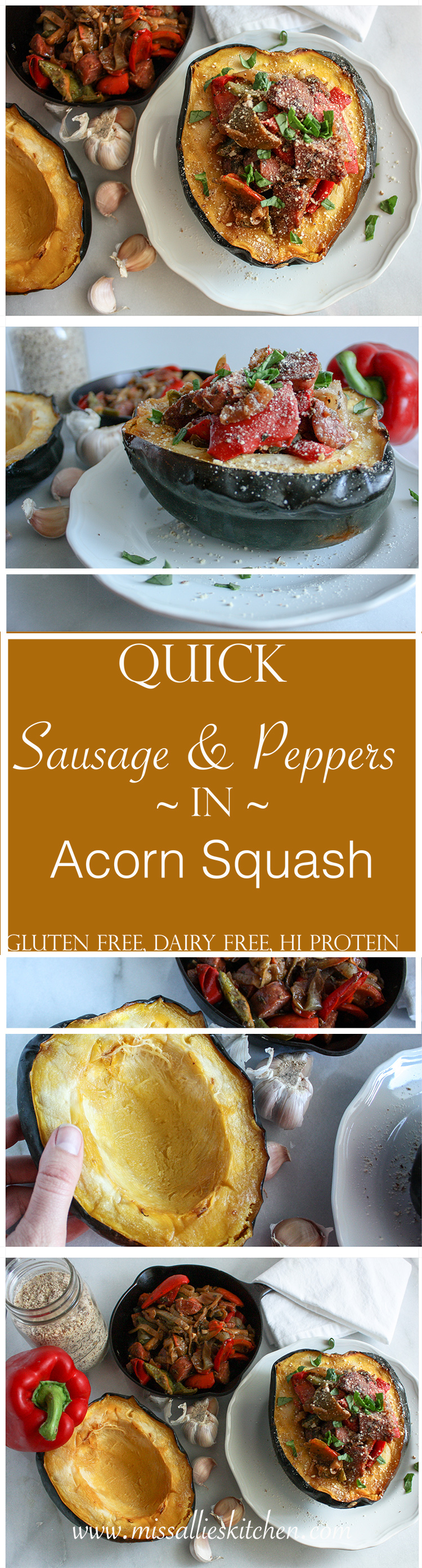 Quick & Easy Sausage and Peppers stuffed into a harvest Acorn Squash - a gluten free & healthy spin on a family favorite