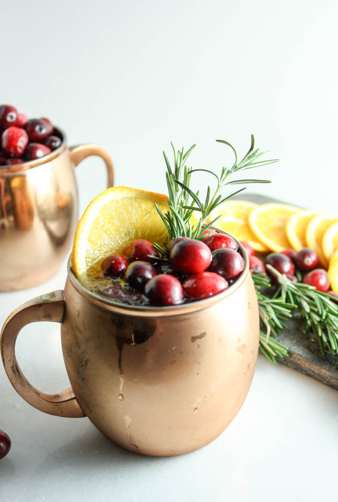 Moscow Mule with Cranberries & Orange