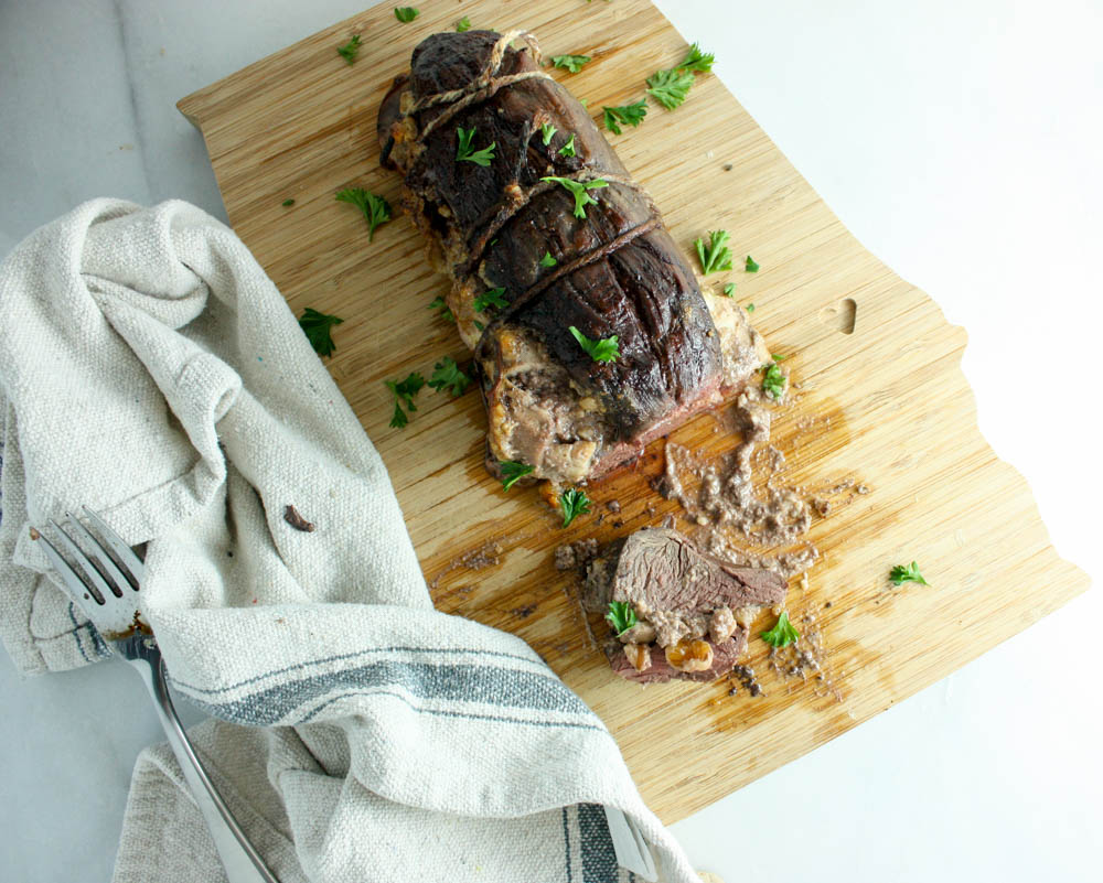 Sliced, Stuffed Pork Tenderloin with Apples and Walnuts