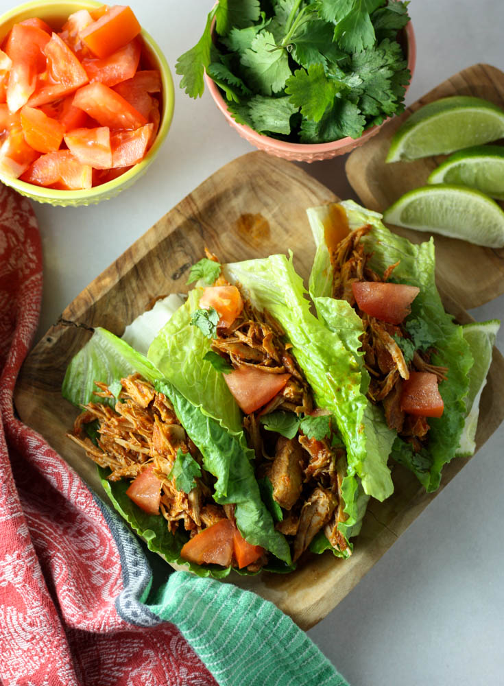 Crock Pot Pork Tacos with Lettuce and Mexican Spices