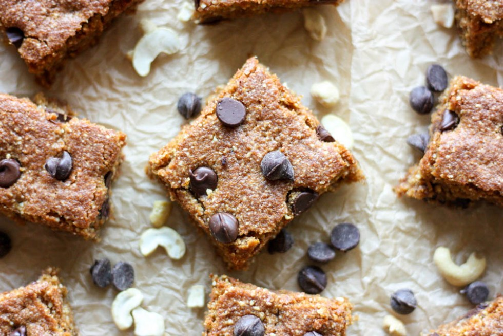 Gluten Free Chocolate Chip Cashew Cookie Bars