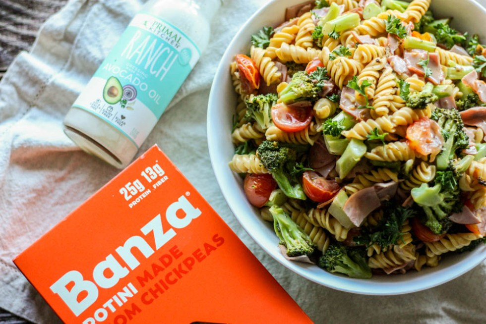 5 Ingredient Paleo Ranch Chickpea Pasta Salad