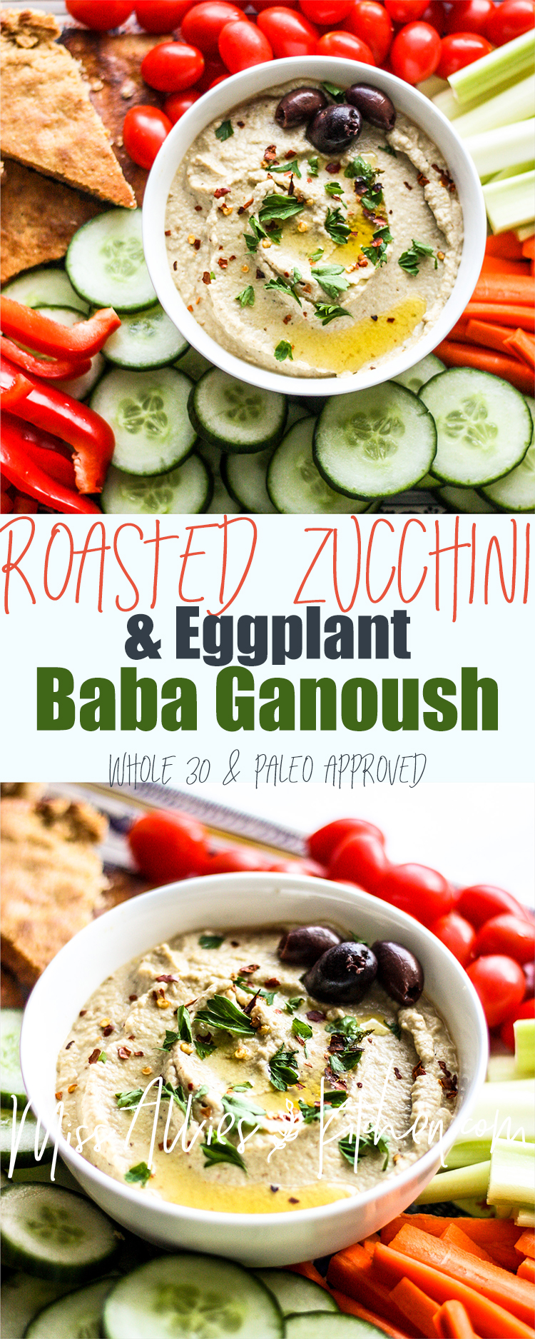 Whole30 Roasted Zucchini & Eggplant Baba Ganoush - a perfect party dip!
