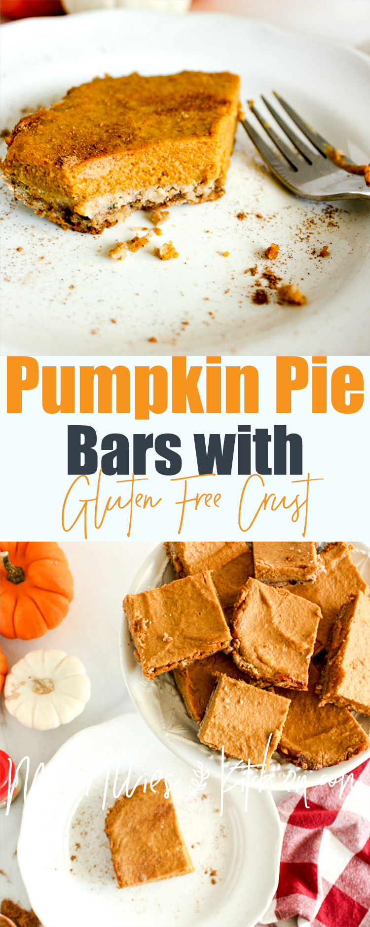 Pumpkin Pie Bars with Gluten Free Oat Crust. Get the healthier pumpkin pie alternative!