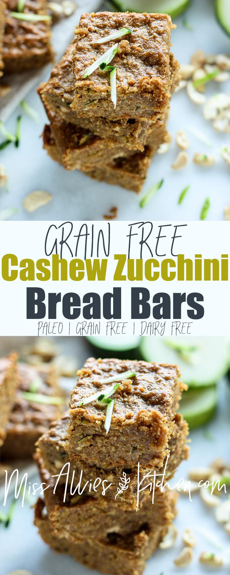 Grain Free Cashew Zucchini Bars - Paleo & Gluten Free