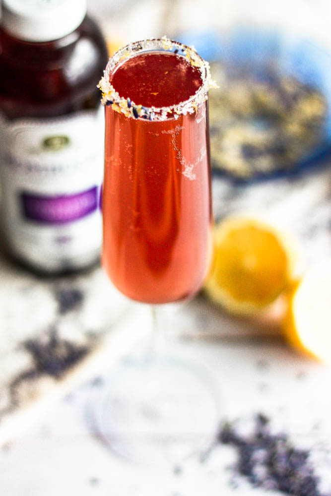 Easy Lavender Lemon Champagne Fizz Cocktails with lemon lavender sugar rim