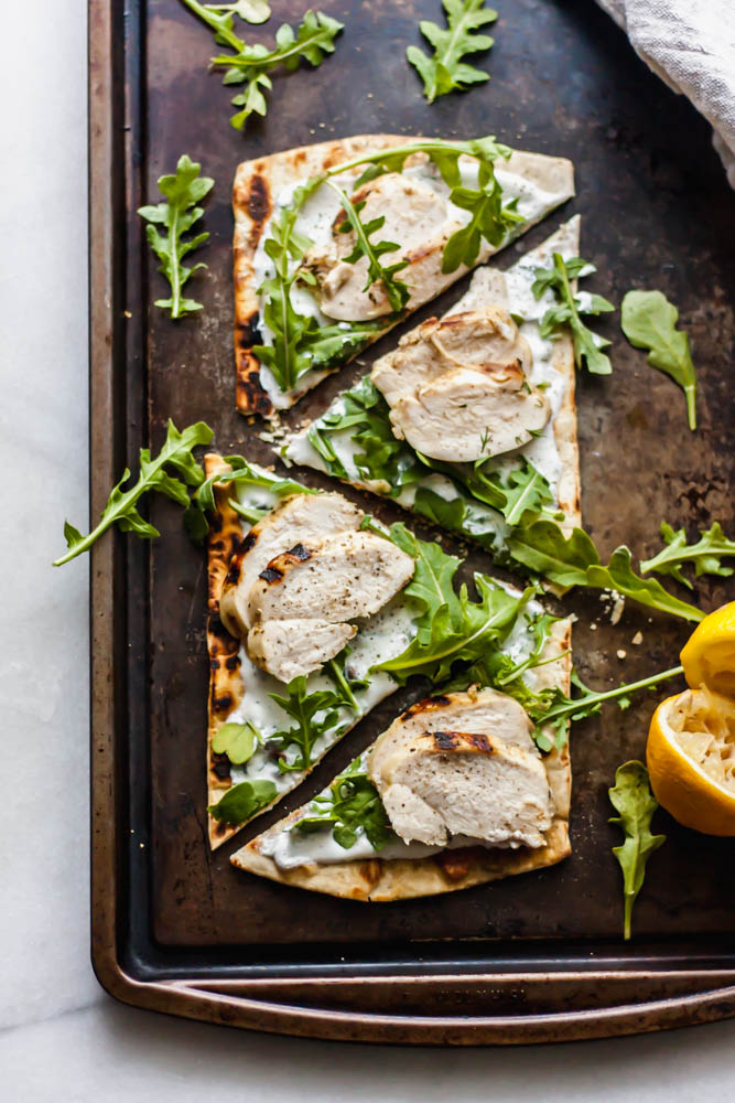 Grilled Lemon Chicken Flatbread with Dill Yogurt Sauce and Arugula
