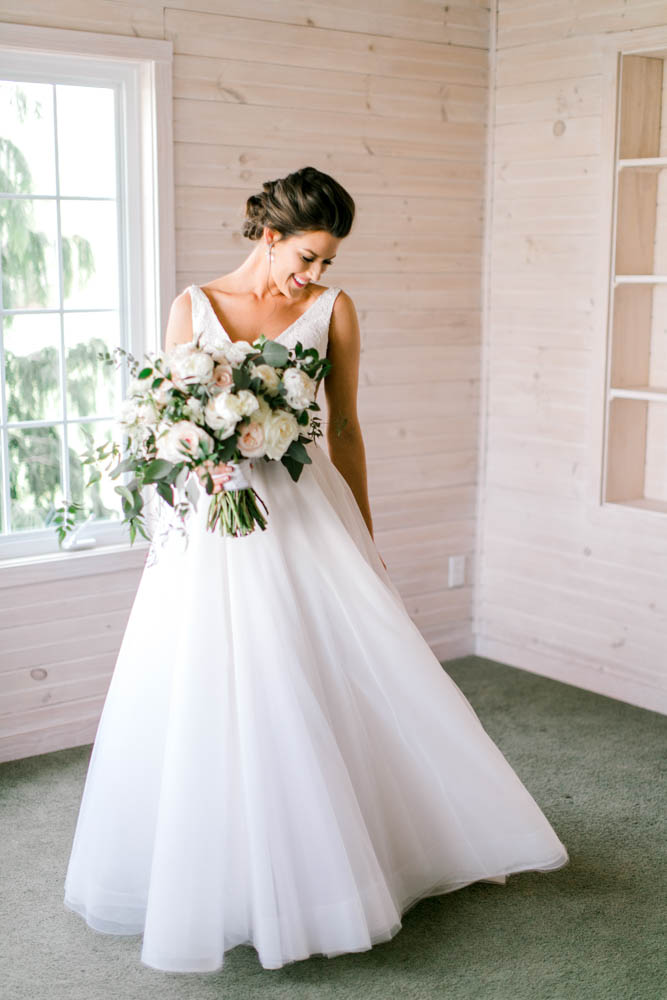 a line tulle bridal gown