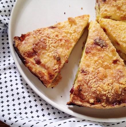 Tarte poireaux lardons crumble de parmesan