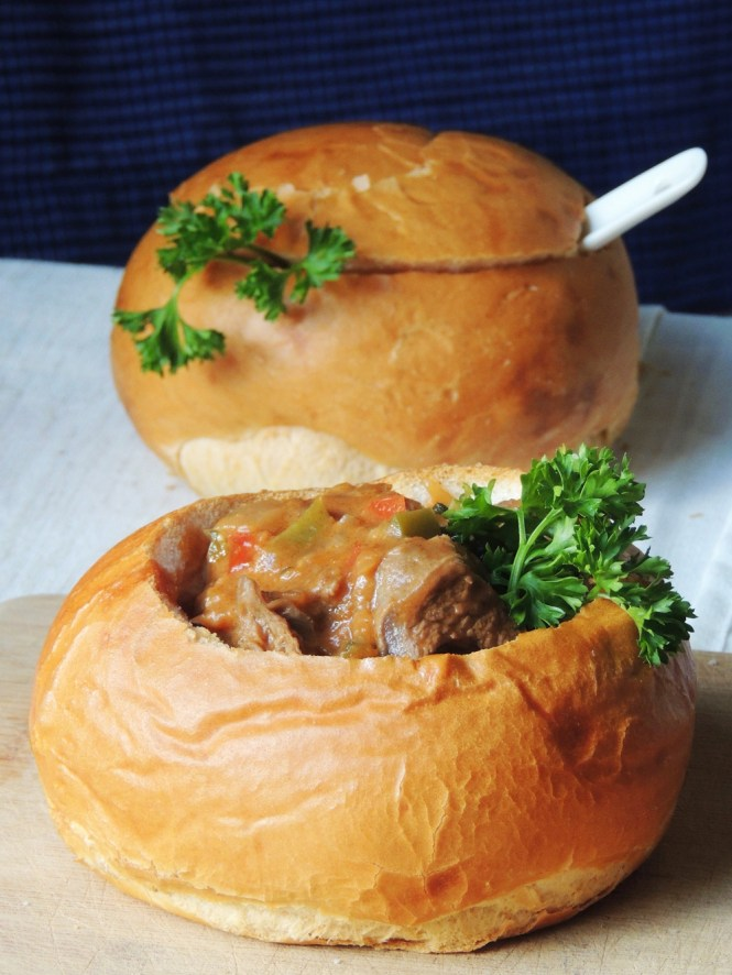 Hungarian Beef Goulash in a bread bowl