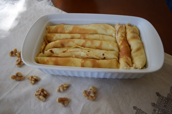 crepes in casserole pan