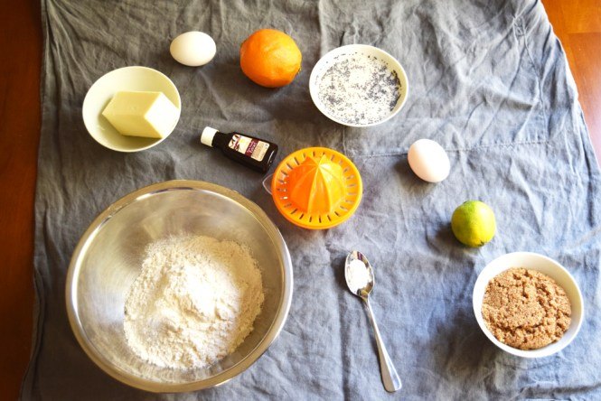 Ingredients lemon lime and poppy seed muffins