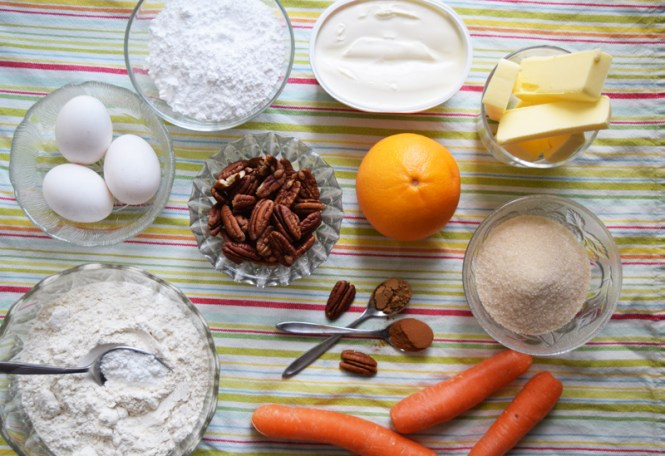 ingredients orange, carrot, and pecan cake