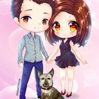 chibi commission family dog bg
