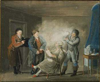 An Audience While the Wig is Being Powdered. 1799. Gouache, painted by Pehr Nordquist (1771-1805). Nationalmuseum, Sweden. (Inv n:0 NMB 1408)