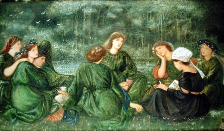 Green Summer, 1864 (gouache on paper) by Burne-Jones, Sir Edward (1833-98) Private Collection English, out of copyright Nel quadro alcune sorelle Mc Donald e Annie Miller