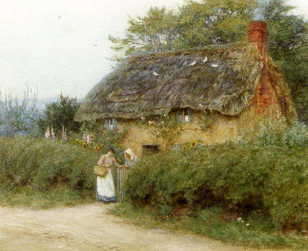 Allingham Helen A Cottage With Sunflowers At Peaslake