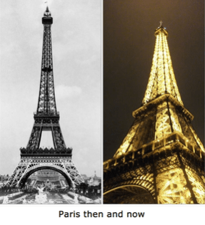 Photos of Eiffel Tower, then and now