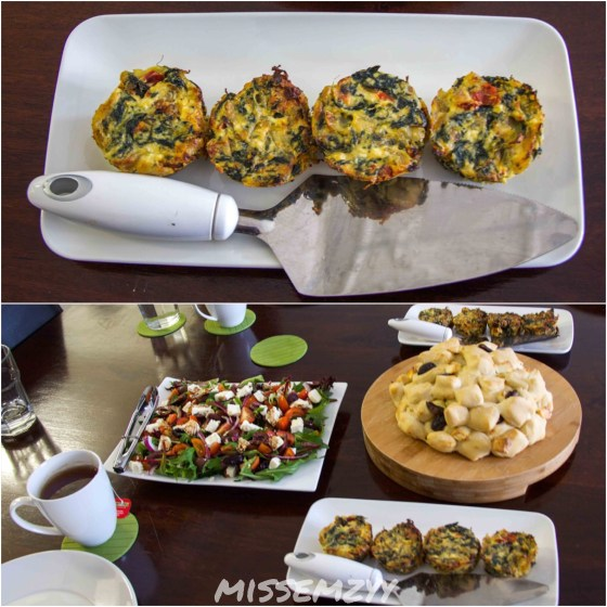 Spinach, sun dried tomatoes and ricotta quiches, Greek salad and pull apart bread. All made from scratch by Sarah.
