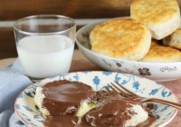 Homemade Chocolate Gravy is one of my all- time favorite breakfasts from childhood. It's the perfect weekend treat and chocolate for breakfast is always a great idea! From MissintheKitchen.com