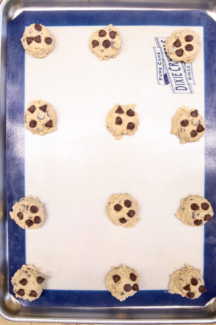 cookie dough on a cookie sheet