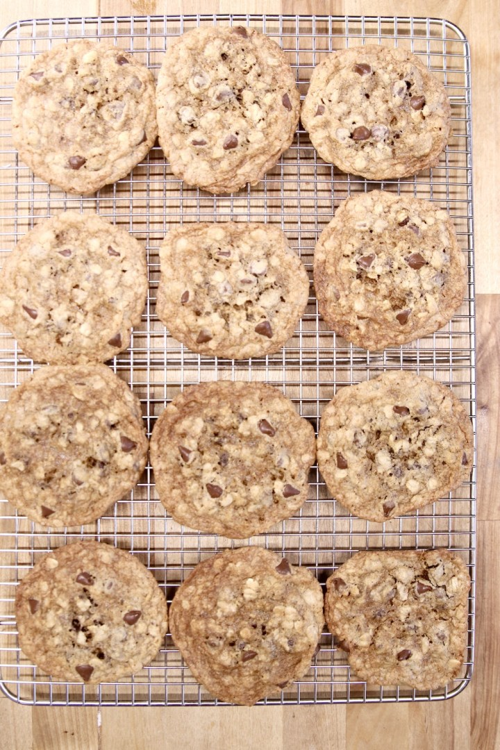 oatmeal chocolate chip cookies cooling on a wire reack
