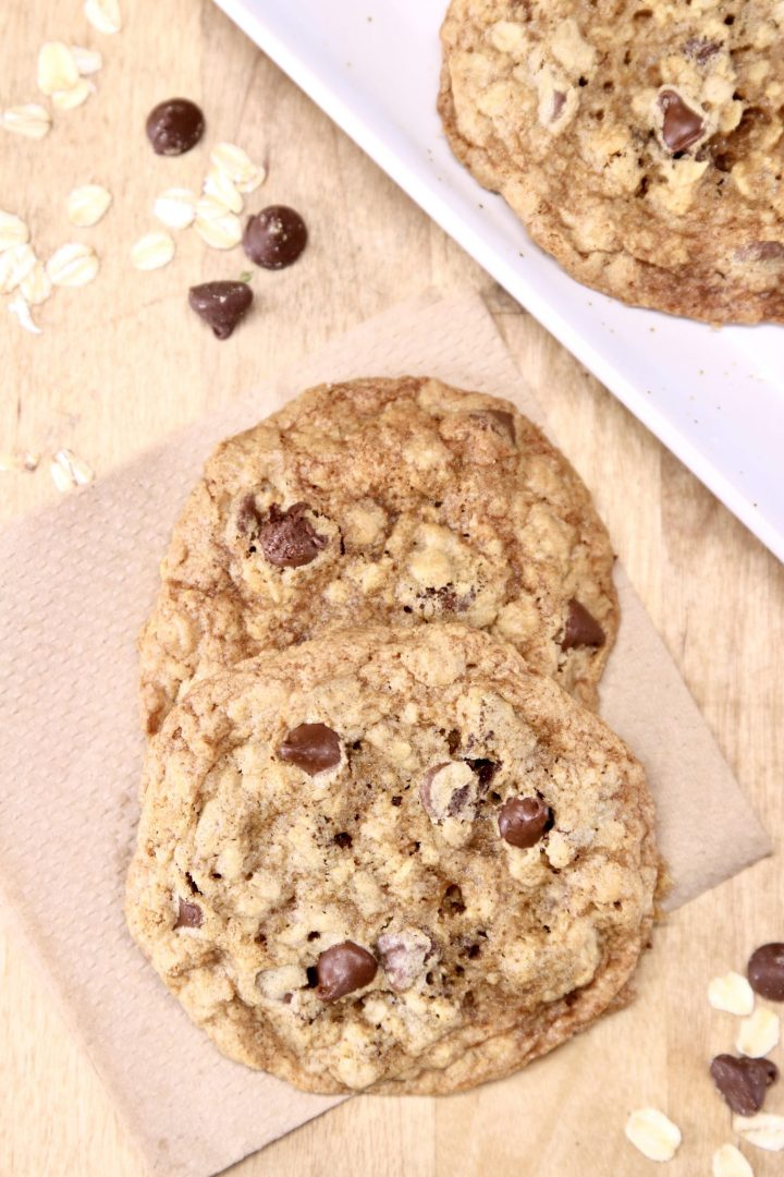 close up of chocolate chip oatmeal cookies