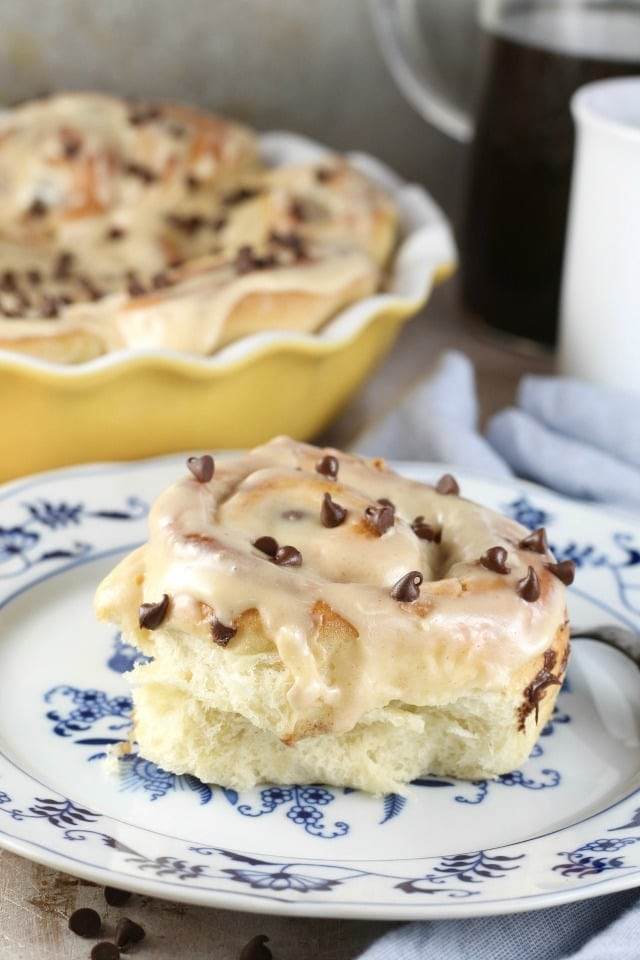 Chocolate Chip Sweet Rolls with Peanut Butter Icing Recipe ~ perfect for the weekend! MissintheKitchen.com